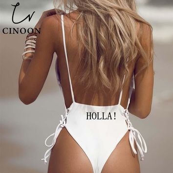CINOON women Swimwear Sexy high cut one piece swimsuit Backless swim suit Black White Red thong Bathing suit female Monokini