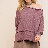 Melange Button-Down Sleeve Sweater Top