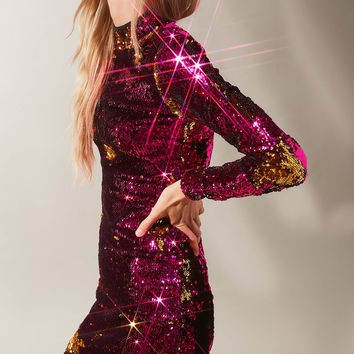 Dress The Population Katy Sequin Turtleneck Dress | Urban Outfitters