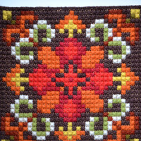 Norwegian folk art wall hanging Needle point tapestry Traditional style ornaments Mid century woolen home decor from Norway