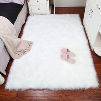 ac DCK83Q Carpet White Wool Floor Mat Bedroom Living Room Mat [118169567257]