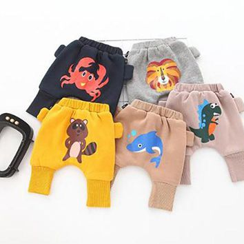 Spring and Autumn Cute Cartoon Pattern Baby Thick Pants Boys Animal Design Harem Pants Cotton Owl Trousers