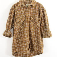 Faded Golden, Brown, Mustard, White Plaid Sunwashed Flannel Shirt Size L - Cuff N Roll