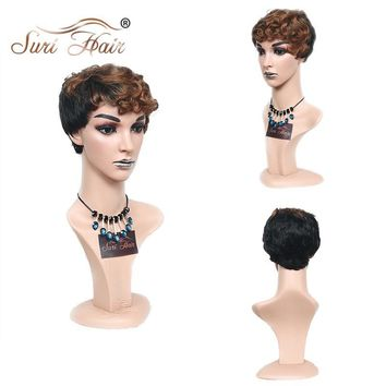 Suri Hair Ombre Short Cut Wigs Heat Resistant African American Curly Synthetic Wigs For Black Women 6 inch