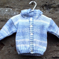 "Hand knitted baby boy's hooded jacket. Blue and white hoodie. 18"" chest"