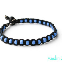 Beaded Hemp Bracelet, Blue Seed Beads, Black Hemp Cord, Macrame Jewelry, Single Bracelet, One of a Kind