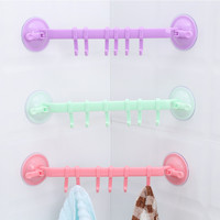 1 Pcs Bathroom Kitchen Wall 6 Hooks Powerful Removable Vacuum Plastic Suction Cup Hanger Home Decoration Bathroom Accessories