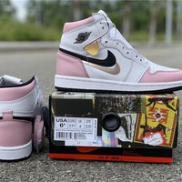 Air Jordan 1 Retro High OG WMNS White/Pink-Black | 555088 688 - Best Online Sale