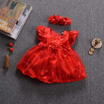 Red Tutu Baby Girls Dresses for Party Wedding Summer Dress Vestidos Mujer Newborn Infant Christening 1 Year Birthday Dress D30