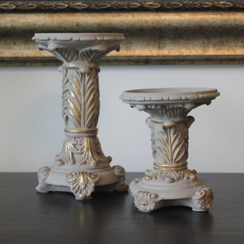 French Provincial Ornate Candle Holders, candlestick holders, painted candle holders, upcycled candle holders, gift idea