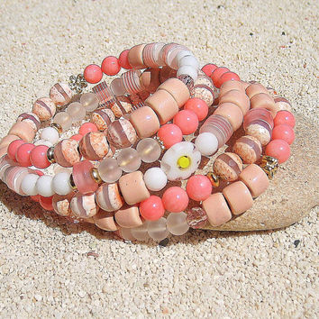 Pink coral bracelet, Coral jewelry, Beach jewelry, Coral stone bracelet, Bohemian bracelet, Wrap layered beaded bracelet,  Gifts idea