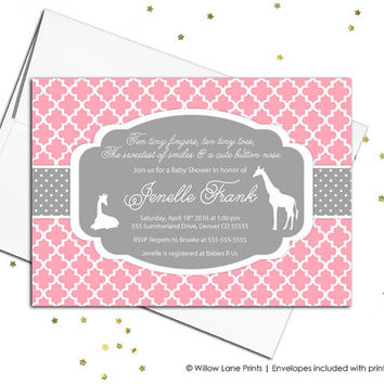 Pink Gray Baby Shower Invitation   Baby Girl Baby Shower Invite   Pink Baby  Girl Shower