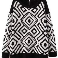 Black Geometric Pattern Knitted Sweater