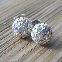 925 Sterling Silver Swarovski AB Iridescent Crystal Earstuds