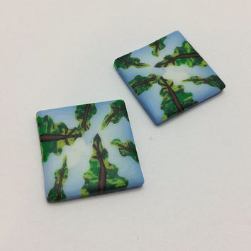 Redwoods From Below Earring Beads, Tree Scene, Handmade Polymer Clay Jewelry Supply