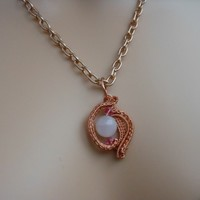Wire Wrapped Rose Quartz and Rose Swarovski Crystal Pendant