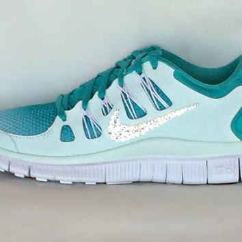 Nike Free Run 5.0 shoes Mint Green Turquoise Summit White with Swarovski  crystals 5f140cd82