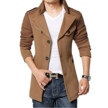 Men Turn down Collar Slim Fit  Pea Coat