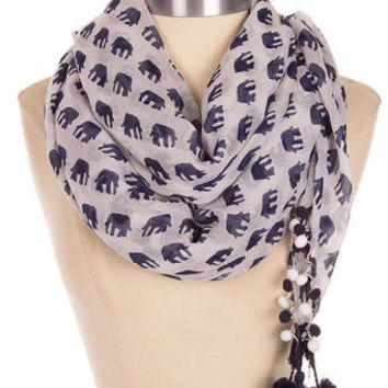 Elephant print scarf, most sold items, best friend gift for mom, pom pom trim scarf, Tassle Tassel Scarf, Bridesmaid Gift womens, PiYOYO