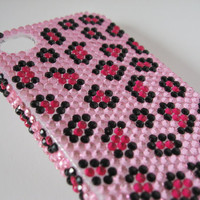 Pink Leopard Print Bling iPhone Case, Pink Leopard Print Bling iPhone 4 Case, Pink Leopard Print Bling iPhone 4/4s Case