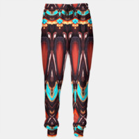K172 Wood and Turquoise Abstract Sweatpants, Live Heroes