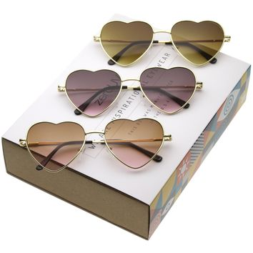 Women's Cute Metal Heart Shape Sunglasses 8796 [3 Pack]
