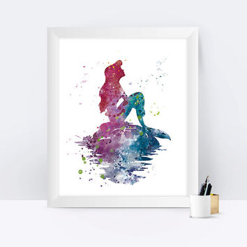 Ariel Print Little Mermaid Princess Ariel Christmas Gifts Disney Princess Watercolor Disney Mermaid Wall Art Gift Nursery Disney Poster