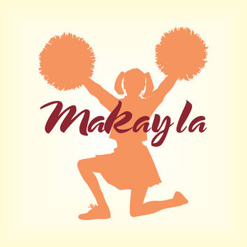 """Girl Name with Cheerleader Personalized Wall Decal Teen Bedroom Pom Pom Girl Vinyl Wall Art Monogram 22"""" wide by 25"""" tall"""