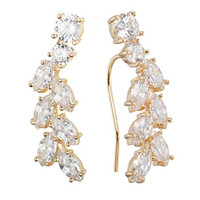 Sweep up CZ Crystal Ear Vine Wrap Pin Ear Cuffs Climbers Hook Earrings (gold-plated-base)