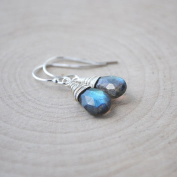 Labradorite Earrings, Tiny Labradorite Earrings, Labradorite Jewelry