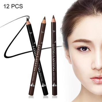 12PCS Eyebrow Pencil Waterproof Sweat-proof Beginners Long-lasting Non-smudge Easy Coloring Make Up Kit Make It Natural