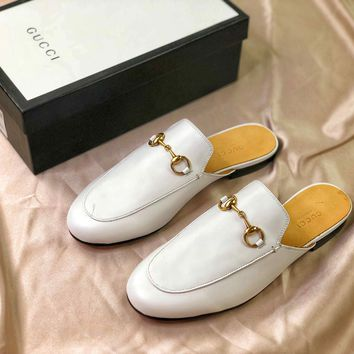 Gucci Princetown Embroidered White Leather Slipper Sandals - Best Online Sale