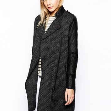 Y.A.S Mind Wool Long Biker Jacket