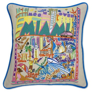 Miami Hand Embroidered Pillow