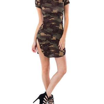 Women Camo Short Sleeve Dress