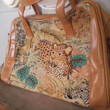 Vintage Carry On Bag ~ Large Embroidered Beaded Cheetah Shoulder bag with removable straps ~ Exotic Tan Caramel Brown