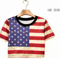 EAST KNITTING Fashion 2014 women American apparel flag crop top colorful printed Tee T-shirt  harajuku clothing Cotton T- shirt