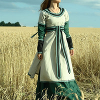 "Medieval Lady Tunic with Overcoat ""Green Fairy"""