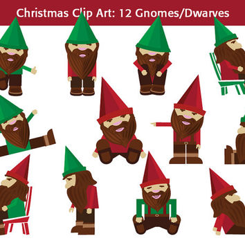 Gnome Clip Art, cute red and green christmas gnomes with hats, holiday images, clipart elements for christmas projects, Buy 2 Get 1 Free
