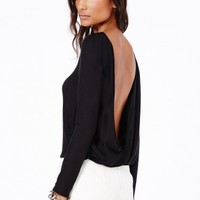 Missguided - Larissa Open Back Crossover Top In Black