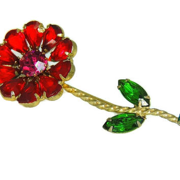 Big Weiss Rhinestone Flower Brooch with Long Stem 3 inch Vivid Colors