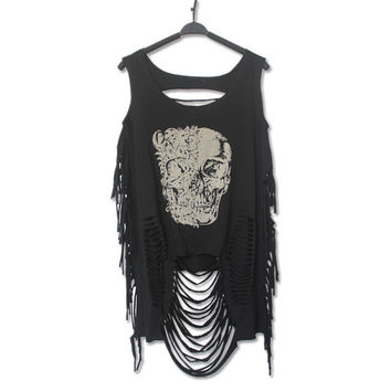 Summer Women Punk Rock T Shirt 2016 Brand Print Tiger & Skull Hollow Out Vintage Casual Sleeveless Black Top Femme Hipster Tees