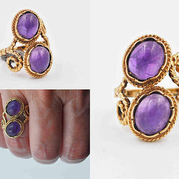 Vintage 9CT Yellow Gold & Amethyst Ring, 2 Two Stone Ring, Oval, Spiral, Rope, Multi Stone, Size 6, London, 1962, Stunning! #c103