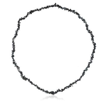 32 Inch Black Obsidian Chip Necklace 260.00 Carat