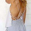 White Strappy Back Lattice Tasseled Top