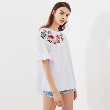 RWL BOUTIQUE Embroidery Short Sleeve Summer Women Blouses White Embroidered Flower Embellished Ruffle Sleeve Babydoll Top