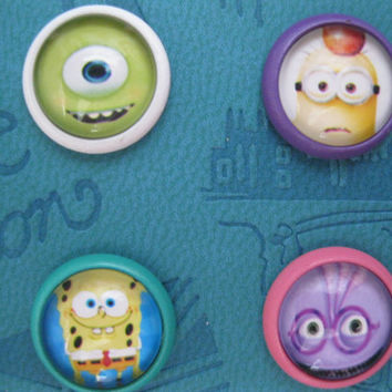 Gift for kids 1PC Glass Epoxy Times Gems Monsters University SpongeBob Despicable Me Alloy Home Button Sticker for iPhone4s,5,5c iPad iTouch