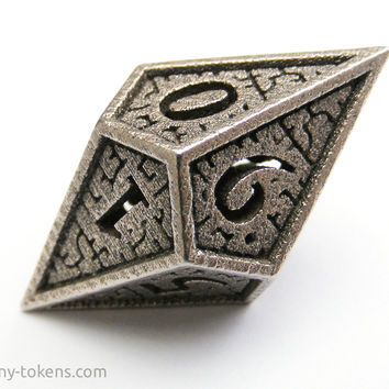 Small D10 'Hedron' Spindown Life Counter Die for MTG - Balanced Stainless Steel Dice