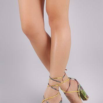 Snake Open Toe Transparent Band Lace-Up Chunky Heel