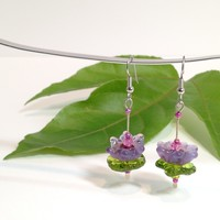 Water Lily / Dangle Earrings / Handmade Lampwork Beads / Monet Inspired / Statement Jewelry / One-of-a-kind / Handmade / Made to Order